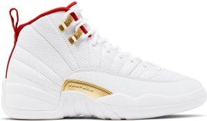 Jordan  12 Retro Fiba 2019 (GS) White/University Red-Metallic Gold (153265-107)