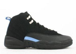 Jordan  12 Retro Nubuck (2003) Black/White-University Blue (136001-014)