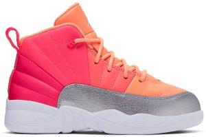 Jordan  12 Retro Sunrise (PS) Racer Pink/White-Hot Punch-Bright Mango-Sunset Pulse-Metallic Silver (510816-601)