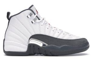 Jordan  12 Retro White Dark Grey (GS) White/Dark Grey-Gym Red (153265-160)