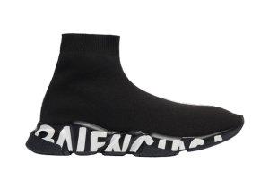 Balenciaga  Speed Graffiti Trainers Black White Logo (W) Black/White (605942W05GE1006)