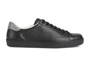 Gucci  Ace Perforated Interlocking G Black Black (599147 AYO70 1069)