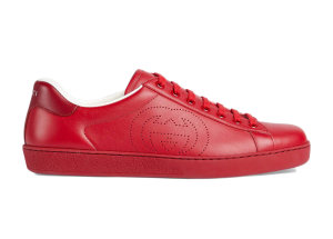 Gucci  Ace Perforated Interlocking G Red Red (_599147 AYO70 6463)