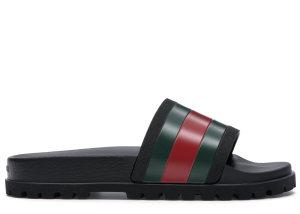 Gucci  Web Slide Sandal Black Black/Green-Red (429469 GIB10 1098)