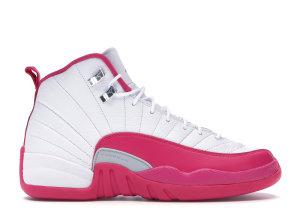 Jordan  12 Retro Dynamic Pink (GS) White/Vivid Pink-Metallic Silver (510815-109)
