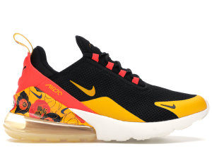 Nike  Air Max 270 Floral Black Crimson Gold (W) Black/Bright Crimson-University Gold (AR0499-005)