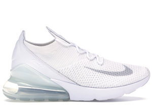 Nike  Air Max 270 Flyknit Triple White White/Pure Platinum-White (AO1023-102)