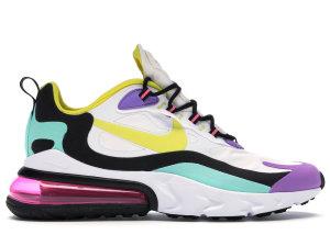 Nike  Air Max 270 React Geometric Art White/Black-Bright Violet-Dynamic Yellow (AO4971-101)