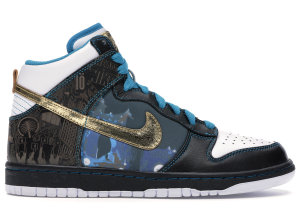 Nike  Dunk High Dubai Black/White-Gold Leaf-Turquoise (393427-071)