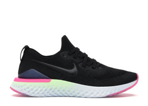 Nike  Epic React Flyknit 2 Black Sapphire Hyper Pink (W) Black/Black-Sapphire-Lime Blast-Hyper Pink-Blue Tint (BQ8927-003)
