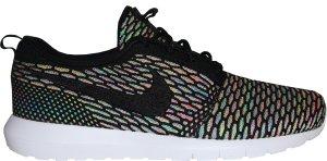 Nike  Roshe Run Flyknit Multi-Color Black/Black-Pink Pow-Blue Glow (677243-013)