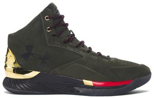 Under Armour  Curry 1 Lux Mid Suede Downtown Green Downtown Green/Metallic Gold-Red (1296617-330)